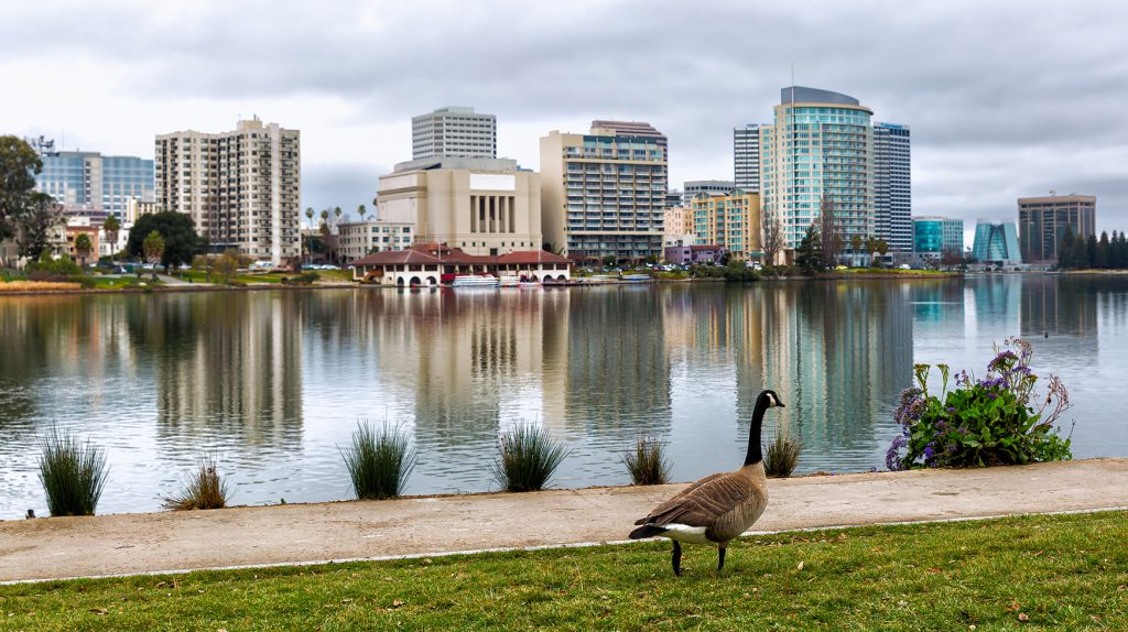 Oakland California Lake Merritt with a view of the skyline and a